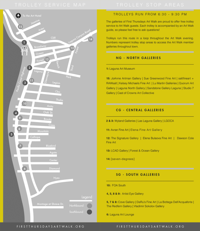 Laguna Beach First Thursday Art Walk Shuttle Map Spring 2017