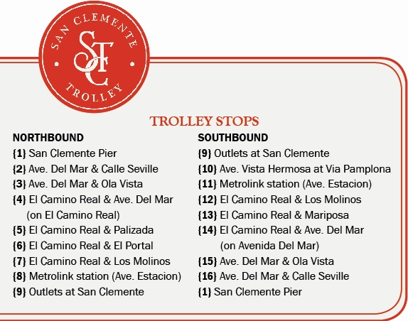 San Clemente Trolley Stops Summer 2017
