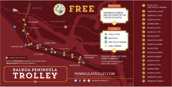 Balboa Peninsula Trolley 2017 Map