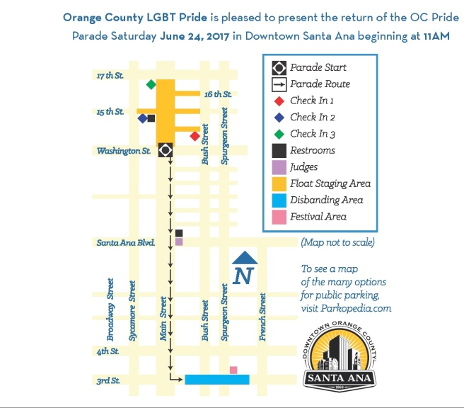 OC Pride Parade June 24 2017 Map