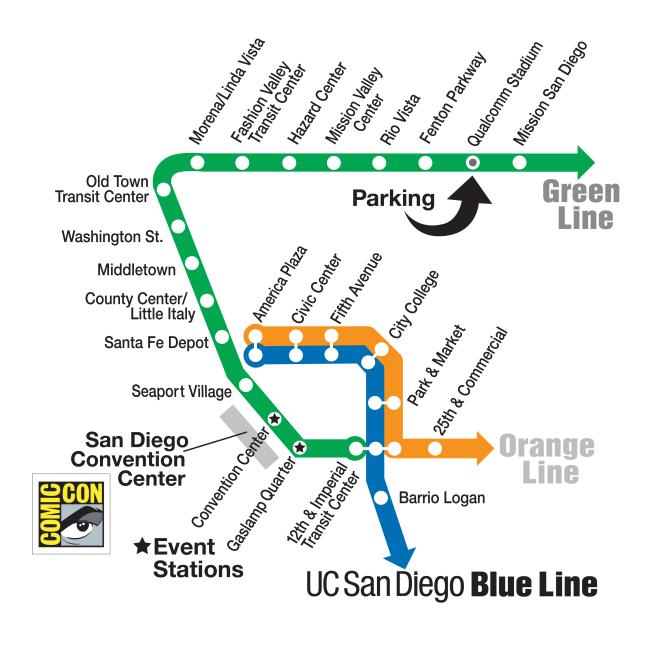 San Diego Metro Transit Comic Con 2017 Map