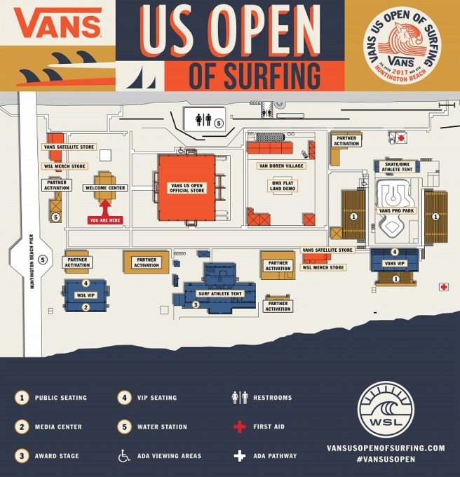 Vans US Open of Surfing Huntington Beach California Venue Map 2017
