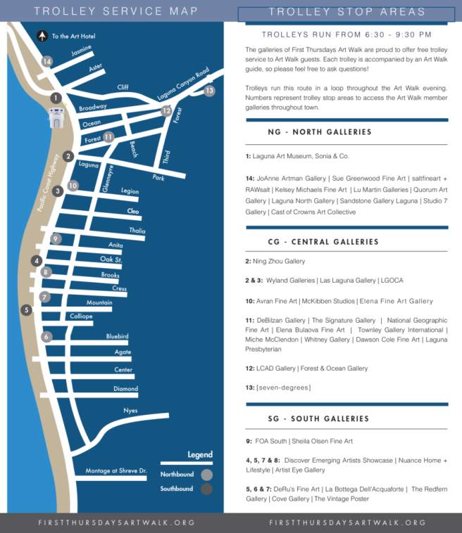 Laguna Beach First Thursdays Art Walk Shuttle Map 2017