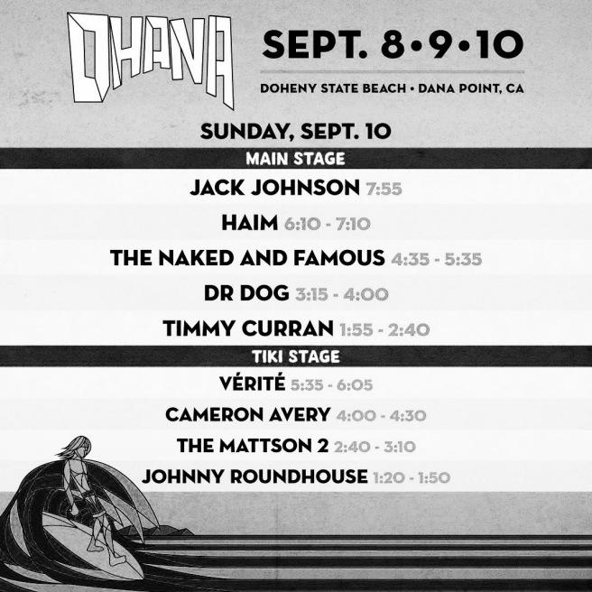 Ohana Fest Doheny State Beach Set List September 10 2017