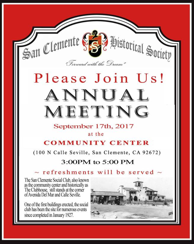San Clemente Historical Society Meeting September 17 2017