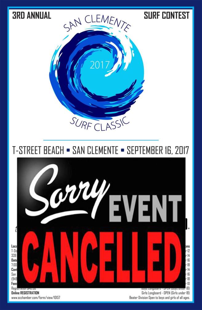 San Clemente T Street Surf Classic September 16 2017 Cancelled