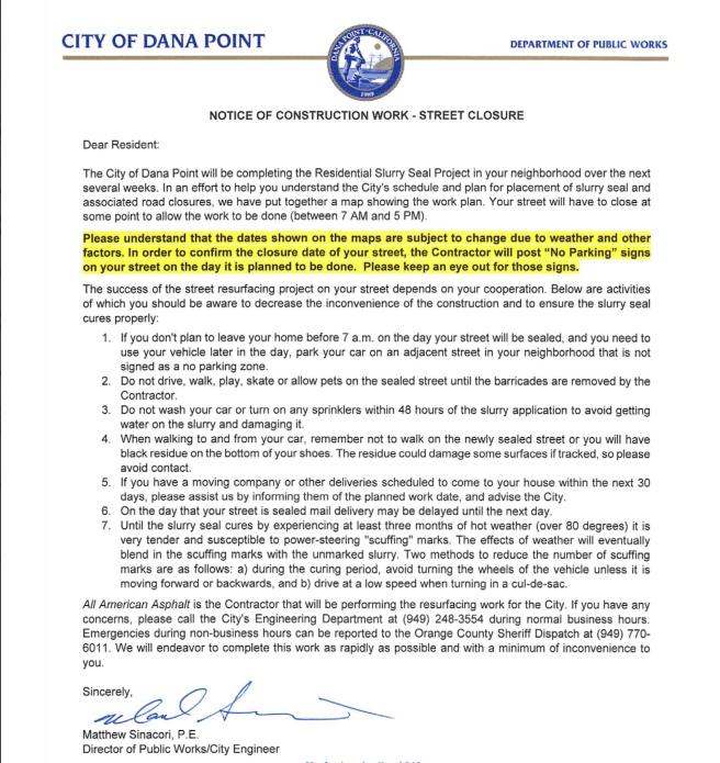 Dana Point Notice of Construction Work:Street Closure Letter October 2017