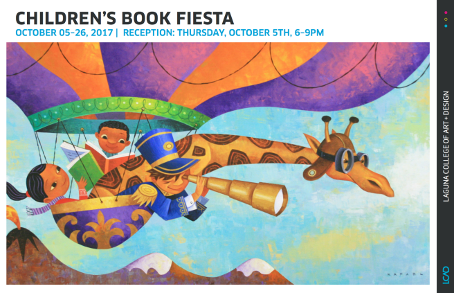 "Laguna Collge of Art & Design Children's Book Fiesta October 2017 (Artwork: Rafael Lopez, Giraffe on Hot Air Balloon, Acrylic on Board, 24"" x 13"", 2008 )"