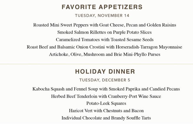 San Clemente California: Antoine's Cafe Cooking Class Schedule November & December 2017