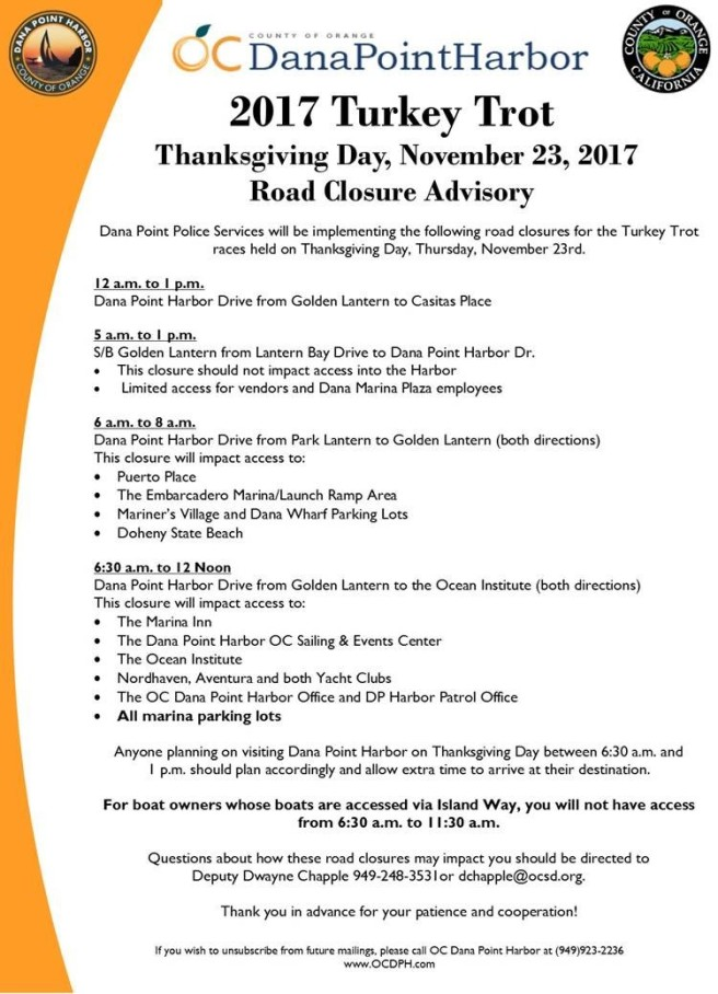 Dana Point Harbor Thanksgiving November 23 2017 Road Closures