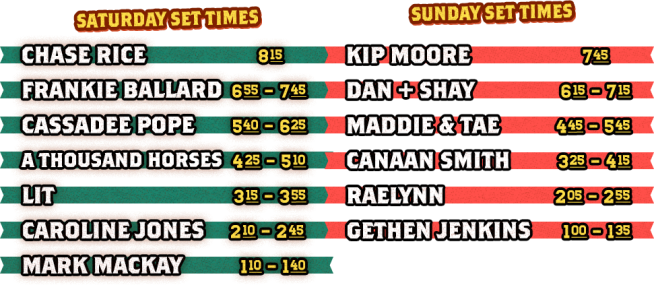 Driftwood Country Music Festival 2017 Set Times