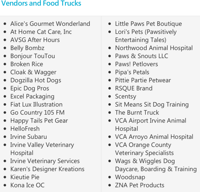 Irvine Home For The Holidays Pet Adoption Vendors & Food Trucks 2017
